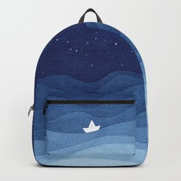 blue ocean waves, sailboat ocean stars Backpack