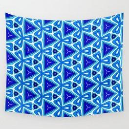 Bright blue Geometric Pattern Design Wall Tapestry
