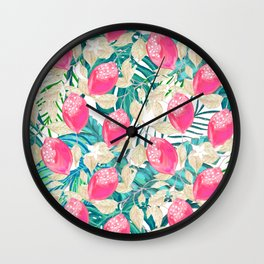 Pink fruit with tropical pattern #society6 Wall Clock