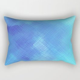 Turquoise Seas Abstract Watercolor - Crosshatched Rectangular Pillow