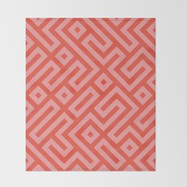 Modern Aztec Tribal Maze Red and Pink Throw Blanket