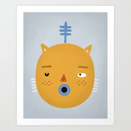 Cat with Fern Art Print