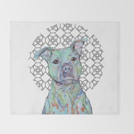 Staffy Portrait Throw Blanket