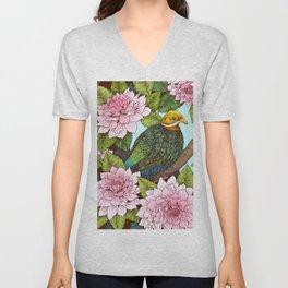 Whistling Fruit Dove in Spring Unisex V-Neck