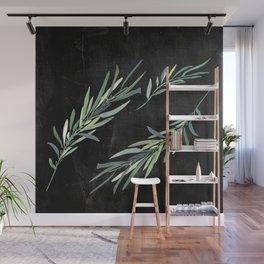 Eucalyptus leaves on chalkboard Wall Mural
