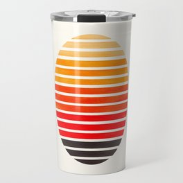 Orange Mid Century Modern Minimalist Scandinavian Colorful Stripes Round Circle Frame Travel Mug