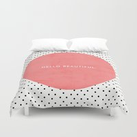 hello beautiful Duvet Covers featuring HELLO BEAUTIFUL - POLKA DOTS by Allyson Johnson