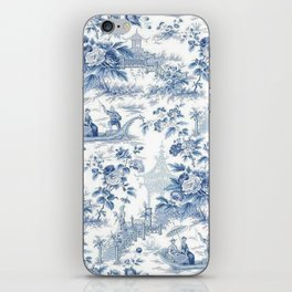 Powder Blue Chinoiserie Toile iPhone Skin