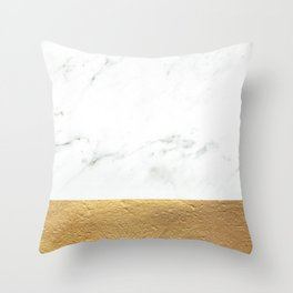 Color Blocked Gold & Marble Throw Pillow