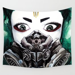 Cyberpunk Kyoshi Warrior Wall Tapestry