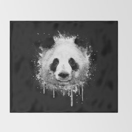 Cool Abstract Graffiti Watercolor Panda Portrait in Black & White  Throw Blanket