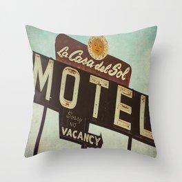 La Casa Del Sol Vintage Motel Sign Throw Pillow