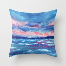 Sea Storm Oil Canvas Throw Pillow