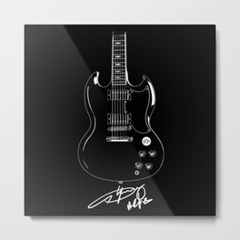 Angus Young - AC DC - Gibson SG Guitar - Rock Music - Pop Culture Metal Print