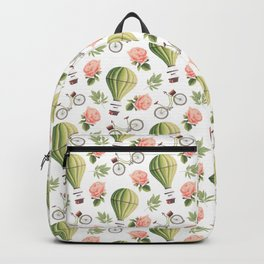 Bicycles Roses and Balloons Pattern Backpack