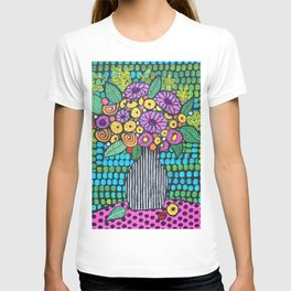 Flowers in a stripey vase T-shirt