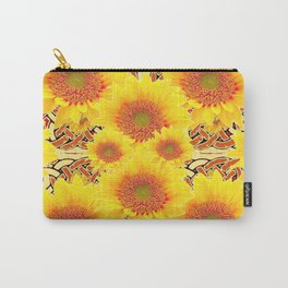 Yellow Caramel Sunflowers on Floral Patterns Carry-All Pouch