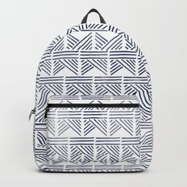 Abstract Aztec print - blue watercolour Backpack