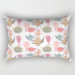 Vintage Tea Pots Time for Tea Multi on White Art Throw Pillow Rectangular Pillow