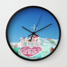 Salvation Mountain in the Californian Desert Wall Clock
