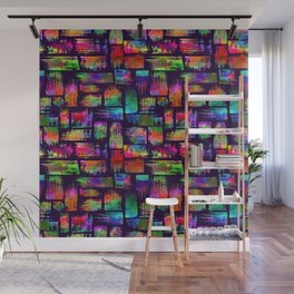 Rainbow brush stripes and strokes Wall Mural