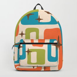 Retro Mid Century Modern Abstract Pattern 921 Orange Chartreuse Turquoise Backpack