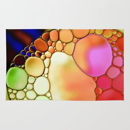 """""""Stained Glass Orbs"""" - Oil and Water Rug"""