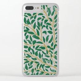Green Leaf Pattern Clear iPhone Case
