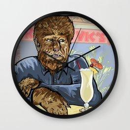 Wolfman drinking a pina colada at Trader Vics. Wall Clock