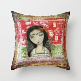 La Frida y su Columna Rota by Flor Larios Throw Pillow