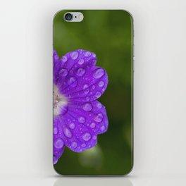 A Cranesbill Geranium blooms in a Spring Rainshower iPhone Skin