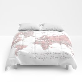 Inspirational detailed world map in dusty pink and gray Comforters