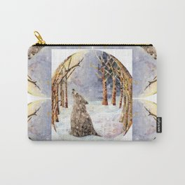 Wolf Oval Pattern Carry-All Pouch