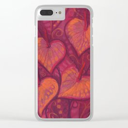 Hearty Flowers / Anthurium, pink, red & orange Clear iPhone Case