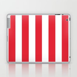 Rose madder red - solid color - white vertical lines pattern Laptop & iPad Skin