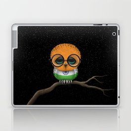 Baby Owl with Glasses and Indian Flag Laptop & iPad Skin