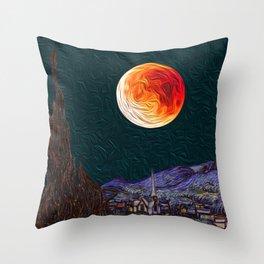 Blood Moon over Starry Night Van Gogh Throw Pillow