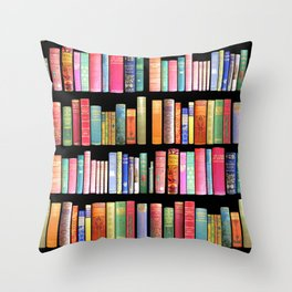Antique Book Library for Bibliophile Throw Pillow