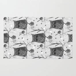 Black And White Owls Rug