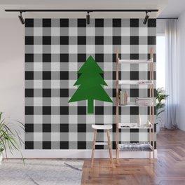 Christmas Tree - black buffalo check Wall Mural