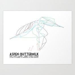 Aspen, CO - Aspen Buttermilk - Minimalist Trail Map Art Print