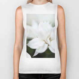 Snow White Flowers on a Dark Background #decor #society6 #buyart Biker Tank