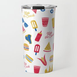 Summer BBQ Pattern - Blue Red Yellow Travel Mug