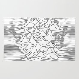 Black and white graphic - sound wave illustration Rug