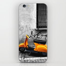 Orange Vespa in Bologna Black and White Photography iPhone Skin