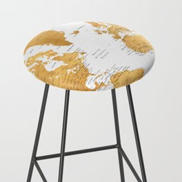 For God so loved the world, world map in gold Bar Stool