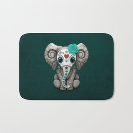 Teal Blue Day of the Dead Sugar Skull Baby Elephant Bath Mat