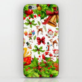 Holiday festive red green holly Christmas pattern iPhone Skin