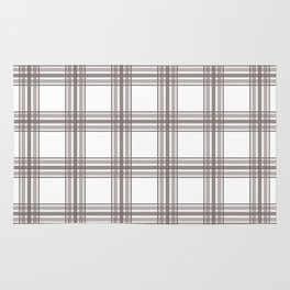 Farmhouse Plaid in Taupe Brown and White Rug