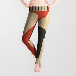 Geometrical abstract art deco mash-up Leggings